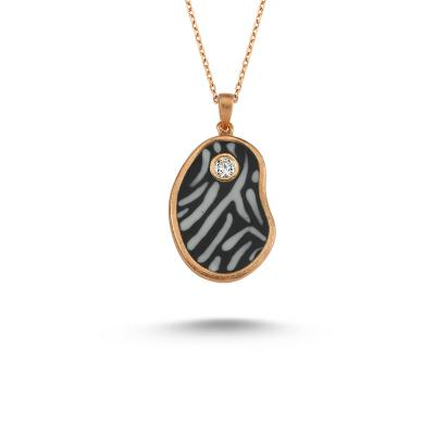 Animal Print- 'Zebra' Diamond Necklace