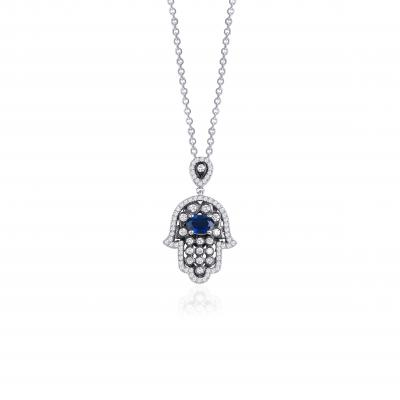 Nadias- Fatima Sapphire And Diamond Necklace