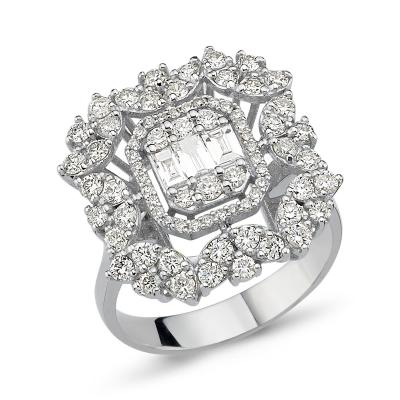 Baguette- Flower Diamond Ring
